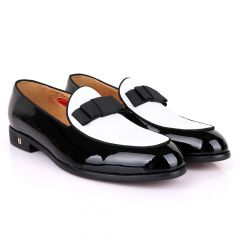 John Foster Glossy With White Upper Leather Bow Design