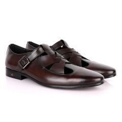Thom Browne Twisted Design coffee Leather Shoe