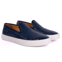 Terry Taylors  Full Woven Leather Corporate Sneaker-Royal Blue