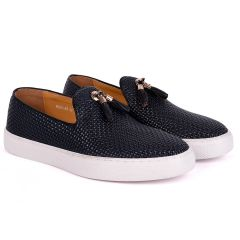Terry Taylors  Full Checkered Leather Corporate Sneaker-Navy Blue
