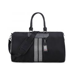 Executive Plain Black Large Capacity Travel Bag With Classic Black And White Designs