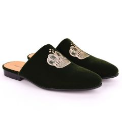 Taylors Crown Embroidered Suede Leather Men's Half Shoe- Green