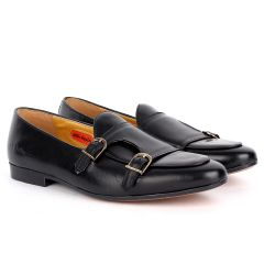 John Foster Black Leather With Monk Strap Side Buckle  Shoe