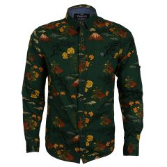 Bajieli Man's Vintage Floral Printed Shirts Green Yellow Long Sleeve