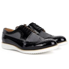 John Mendson Classic Men's Black Glossy and Grey Perforated Designed Shoe