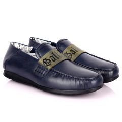 John Galliano Exquisite Green Branded Belted Leather Shoe - Blue