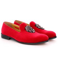 John Foster Red Full Suede Leather Stone Crown logo Designed Men's Shoe