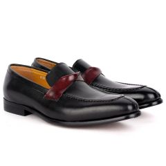 J.M Weston Classy Black Leather Shoe with Brown Twisted Belt Design