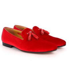 John Foster Exquisite Red Suede Leather Shoe with Tassel Design