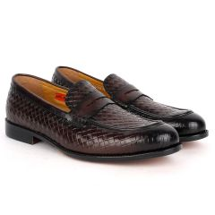 John Foster Exquisite Woven Leather Shoe with Belt Design-Coffee