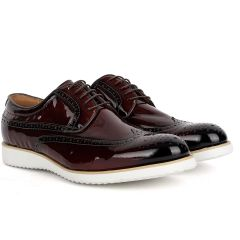 John Mendson Classic Men's Coffee Glossy Perforated Designed Shoe With Solid White Sole