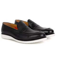 John Mendson Classic Black Leather Shoe With White Solid Sole