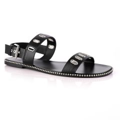 Giuseppe Zanotti Black Rander Trap Leather Sandal