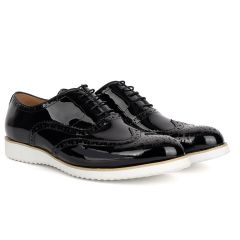 John Mendson Classic Men's Black Glossy Perforated Designed Shoe With Solid White Sole