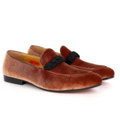John Foster  Twisted Woven Strap Brown Suede Leather Men's Shoe