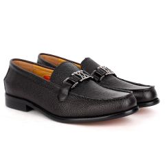 John Mendson Executive Black Croc Leather Loafers Shoe With Silver Logo Design