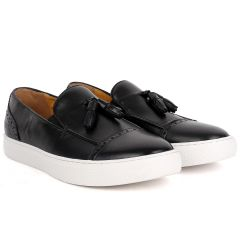 John Foster Classy Men's Black Loafers Shoe With Textile Design And White Sole