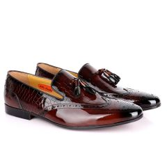 John Foster Half Croc Wetlips Leather With Tassel Design Brogues- Coffee