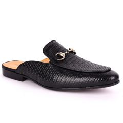Billy Garrison Exquisite Leather With Classic Gold Chain Men's Half Shoe- Black