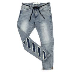 O.W Virgil Abloh Collection Ripped Executive Denim Label Jeans- Blue