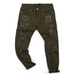PP Men's Straight Cut Star Stoned Distressed Jeans- Green