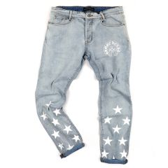 Chrome Style-Fusion Star Printed Design Men's Denim Jeans- Blue