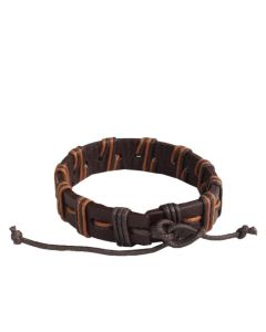 Brown genuine leather and waxed cord men's bracelet