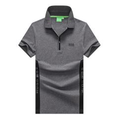Hugo Boss Regular-Fit Polo Shirt With Side Logo- Grey
