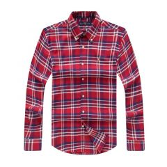 PRL Long Sleeves Striped Oxford Shirt-Red
