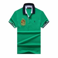 PRL Custom Fit Dual Toned Collar Premium Cotton Polo Shirt- Green