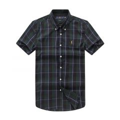 RL Custom Fit Short Sleeve Men's Button Down Oxford Shirt-NavyBlue