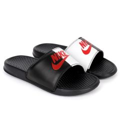 NK Benasi JDI Black and White With Red Design Logo Men's Slide