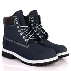 Tim Adventure 6 Inch Leather Boots Navy Blue White