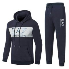 Emporio Armani Front Logo Design Navy Blue And Ash Tracksuit