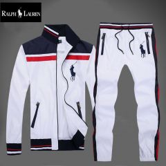 PRL Classic Crested Big Black Pony White Tracksuit