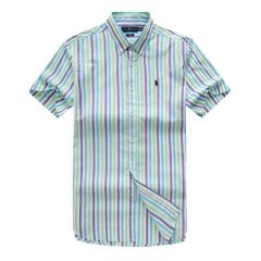 PRL Custom Fit Short Sleeve Colored Striped Cotton Shirt- Purple