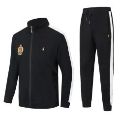 PRL Zippered Cotton-Blend Fleece Black And White Stripe Tracksuit