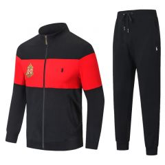 PRL Zippered Cotton-Blend Fleece Tracksuit- Black And Red