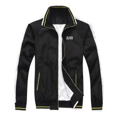 Boss Water-repellent jacket with logo statements-Black