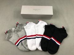 Thom Cotton 5 in 1 Ash, White and Black Socks