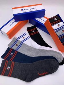 Champs With Created Logo 5 In 1 Black, Grey, Blue, Ash White Blue Ash socks