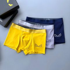 Fend 3 In 1 Comfortable Body-Suited Yellow, Ash And Blue Men's Boxers