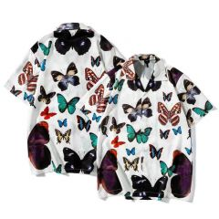 Vintage Floral Butterfly Designed Shirt Sleeve  Button Up