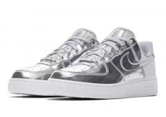 N A F 1 07 Patent Argent Silver Men's Sneakers