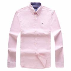 Tommy Hilfiger Pure Cotton Plain Fitted Long Sleeve Shirt- Pink