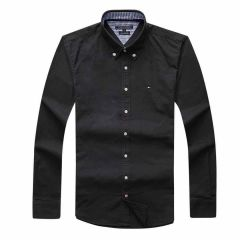 Tommy Hilfiger Pure Cotton Plain Fitted Long Sleeve Shirt- Black