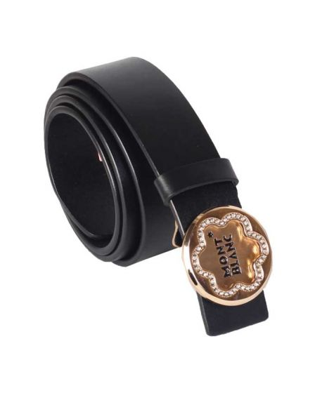 MontBlanc  Classic Gold Buckle Gilded Belt Black