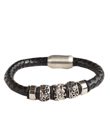 Bead and Braided Stainless Steel Black Leather Bracelet
