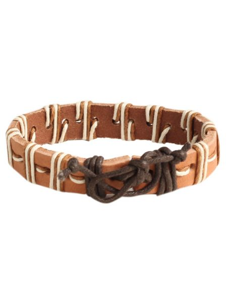 ALPHA MAN Men's Sparsed Thread-Woven Leather Adjustable Cord Surfer Bracelet-brown