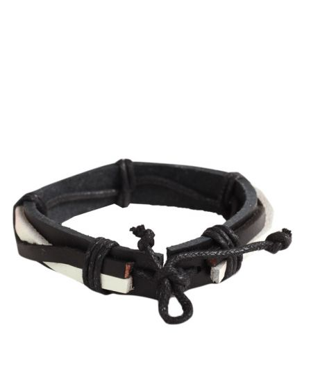 Rustic Leather Wrap Bracelet White and Black